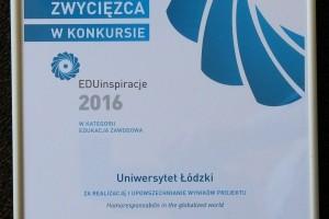 Nagroda w konkursie EduInspiracje 2016 dla Wydziału Zarządzania UŁ